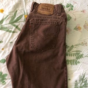 Brown Levi's high-waisted jeans